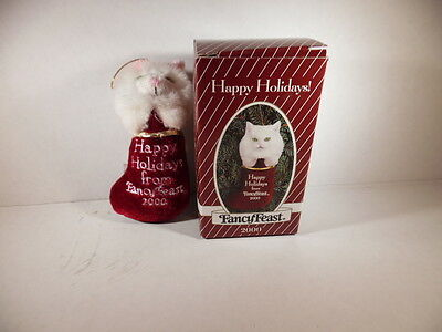 Fancy Feast Christmas 2000 Cat in Stocking Ornament w/Original Box