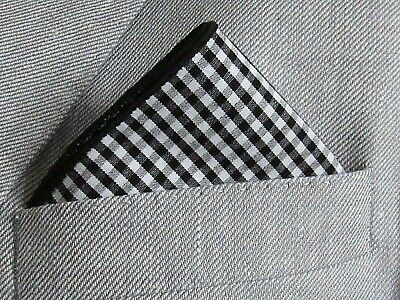 "POCKET SQUARE /HANDKERCHIEF    Black and White Gingham Cotton. 12""wide"