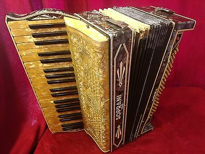 Vintage Pre-War Piano Accordion Soprani Cardinal LMMM 41/120 FOR PARTS OR REPAIR