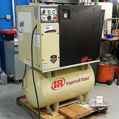 Used 10 HP Ingersoll Rand Rotary Screw Air Compressor Separate Dryer Low Hours