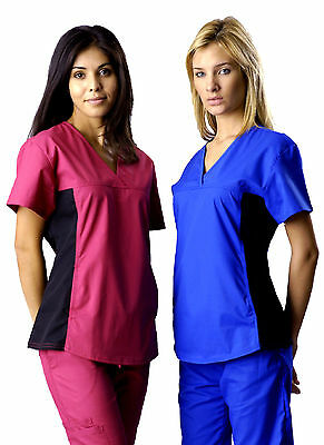 Stylish Women's Nursing Scrub Set w/ Black Stretch Spandex Multiple Colors !!