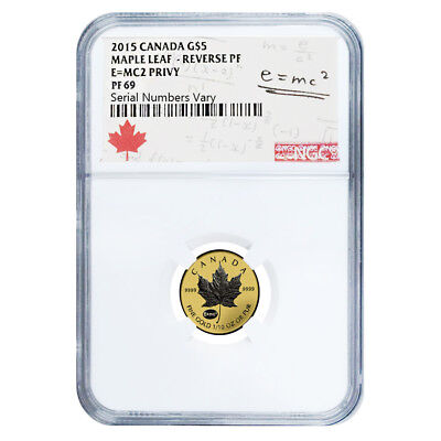 2015 1/10 oz Gold Canadian Maple Leaf E=mc2 Privy NGC PF 69
