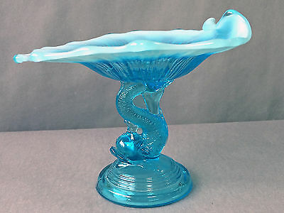EAPG Northwood Opalescent Blue Dolphin Compote Calling Card Holder