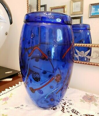 Original Murano Glass Italy Large Cobalt  Vase Murrine Venetian fine art