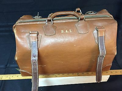 Vintage Antique Genuine Cowhide Leather Large Doctors Bag Travel Briefcase