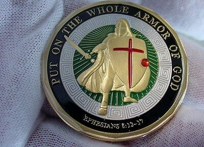 Hard Times GOOD LUCK Armor of God Challenge Coin-Gold Plated- Nice Most Popular