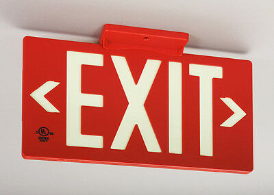 2 Jessup Glo Brite Exit Signs Glow in the Dark Egress Safety Sign 7052-B NEW