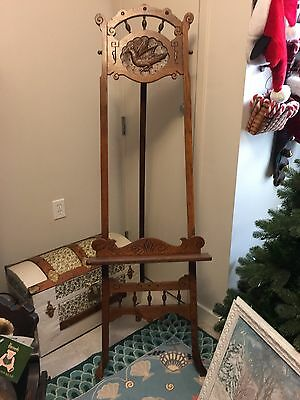 Outstanding Victorian East Lake WoodFloor Easel Carved Bird Inset FREE SHIPPING