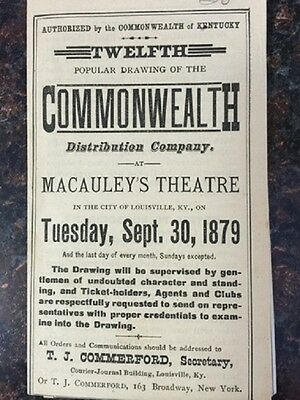 Antique advertisement for lottery drawing by Commonwealth of Kentucky 1879