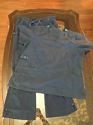 Wonder Wink Scrub Set Navy Blue Pants Size Large Top Size XL