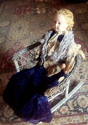 """1800s Doll Ludwig Greiner 32"""" Paper Mache Large Doll Blond Blue Glass Eyes Rare"""