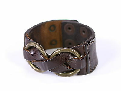 * DSQUARED2 * Dsquared Brown Genuine Leather Buckle Wrap Bracelet