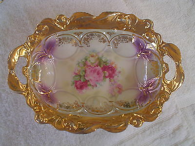 Antique Pre World War Ii Made In Germany Ornate & Fancy Lge Bowl W Roses & Gold