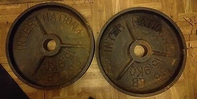 "International DEEP DISH RARE Olympic 35 lb Weight Plates Pair 2"" Vintage"