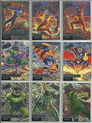 2017 Upper Deck Fleer Ultra Spider-Man 12 Card Legacy Silver Web Foil Insert Set