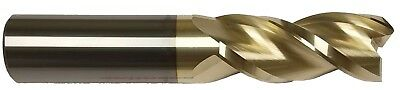 "1/4"" 3 Flute 37° Helix Carbide End Mill For Aluminum - .015 Radius  - Zrn Coated"