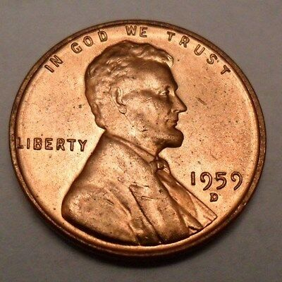 1959 D Lincoln Memorial Cent / Penny  *AU - ABOUT UNCIRCULATED*  *FREE SHIPPING*