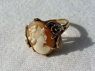 Vintage Gold Toned Carved Shell Lady Cameo Flower Leaves Ring Size 5 1/2