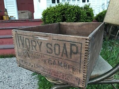 Antique Ivory Soap Wood Crate Box Proctor and Gamble USA storage decor