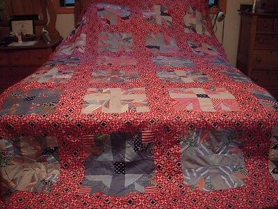 """Huge 80"""" by 116"""" Red White and Blue Patchwork Feedsack Quilt Top - Hand Pieced"""