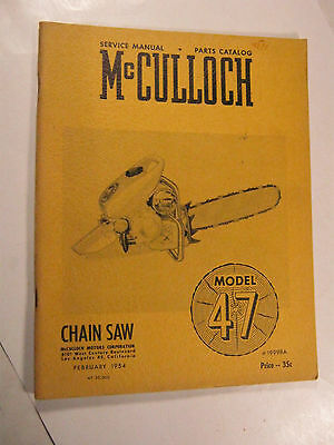 Mcculloch 47 Model Chainsaw Service Parts Catalog Manual 1954