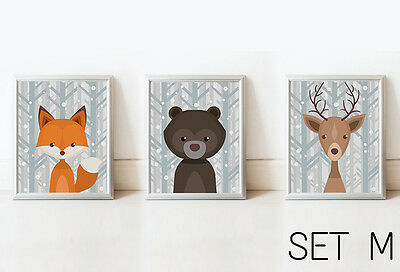 SET 3 Fox Bear Deer Nursery Decor Wall Art Kids Print Animals Picture Baby Room