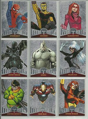 2017 Upper Deck Fleer Ultra Spider-Man 50 Card Marvel Metal Silver Complete Set