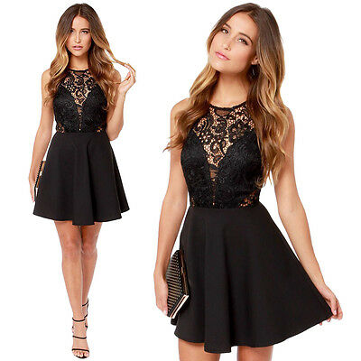 Fashion-Women's-Sexy Lace Floral Casual Short Party Evening Cocktail Mini Dress