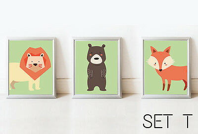 SET3 - Bear Lion Fox Nursery Decor Wall Art Kids Print Animals Picture Baby Room