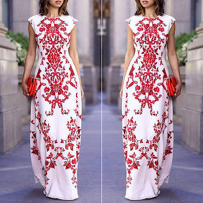 Ladies Floral Cap sleeve Long Maxi Dress Party Ball Gown Evening Cocktail Dress