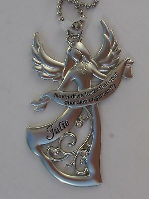 f Julie Never Drive faster than your GUARDIAN ANGEL can fly CAR CHARM ganz