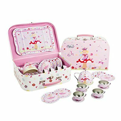 Butterfly Tea Set Basket Girls Toy Game Tea Party Complete Kit fairies picnic