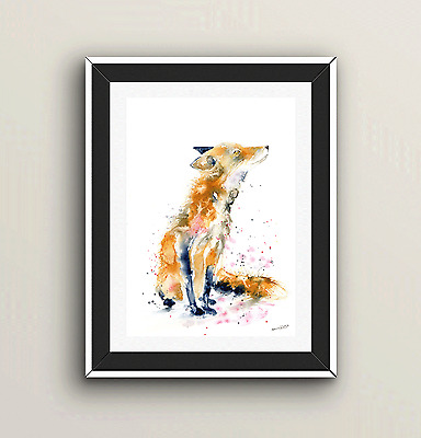 SkinnyDaz - Print of my Original Red Fox Watercolour Painting - Animal Art