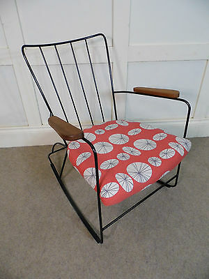 Stylish Vintage Retro Ernest Race Restored Rocking Armchair Bespoke 50s one off