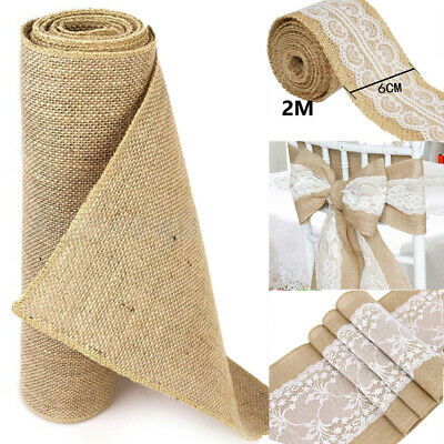 Hessian Table Runners Lace Hessian Fabric Roll Chair Sash Natural Jute Wedding