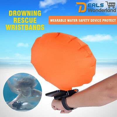 Wrist Bracelet Inflatable Float Air Bag Swimming Self Rescue Ring Survival