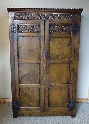 Ipswich Distressed Oak Two Door Wardrobe, c.1920, nationwide delivery available