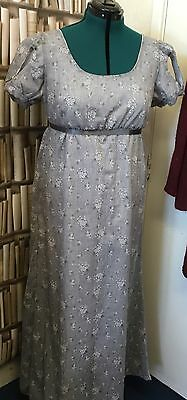 Mancheron Sleeved  Regency Style Sprig Cotton Gown