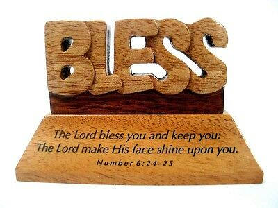 Christian wood mahogany The Lord Bless you No. 6:24-25  desktop ornament gift