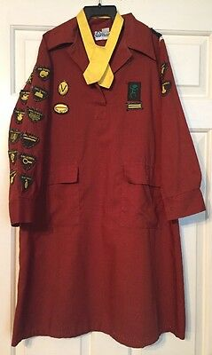 Vintage 1970s 1980s Brownie Girl Guide Uniform Dress with Badges