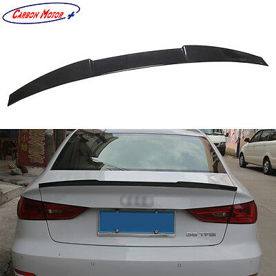 For Audi A3 S3 Sedan Carbon Fiber Rear Spoiler Boot Lip 2014 2015 2016 2017