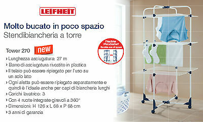 Leifheit 81454 Tower 270 clothes horse foldable in torre with wheels