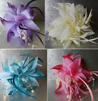 Lily on Pearl Elasticated Wristband Corsage With Pearls & Feathers