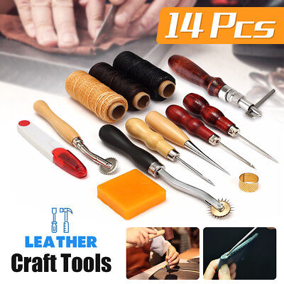 14Pcs Leather Craft Tool Set Tools Kit Hand Stitching Sewing Thread Awl Thimble