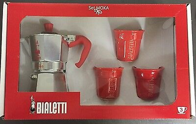 Gift Set Red Bialetti Moka Express 3 Cups stove top coffee espresso maker