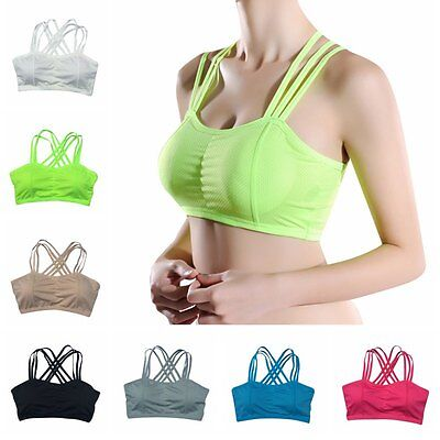 Women Workout Sports Bra Yoga Fitness Tank Top Stretch Seamless Racerback Padded
