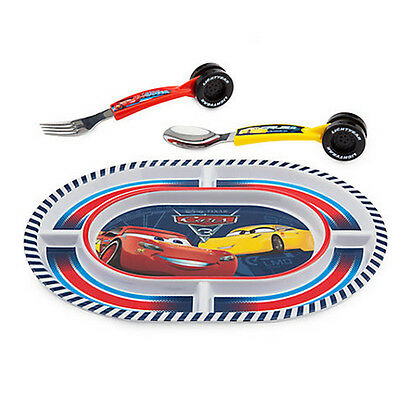 New Official Disney Cars 3 3 Piece Plate & Cutlery Set