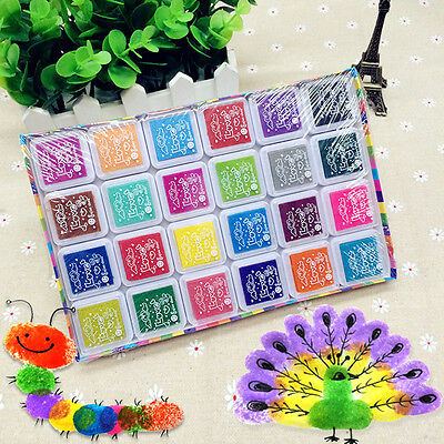 24Color Multi-Color Ink Pads Children Kids Finger Painting Stamp Pads Pigment