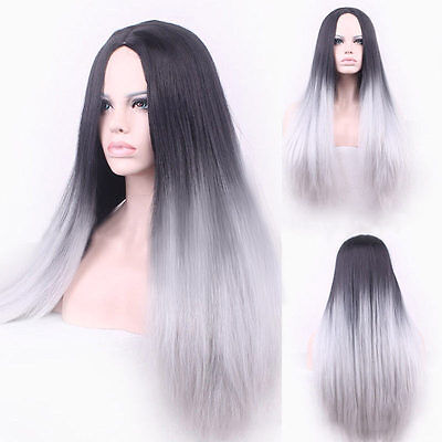 Straight Synthetic Wig Hair Two Tone Natural Black/Grey Gradient Heat Resistant