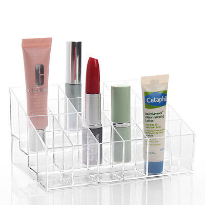 Clear Acrylic 24 Lipstick Holder Display Stand Cosmetic Organizer Makeup Case TM